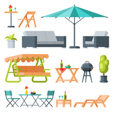 Modern Garden Furniture Collection, Table, Sunshade Umbrella, Swing Bench, Lounger, Barbecue Grill Flat Vector Illustration