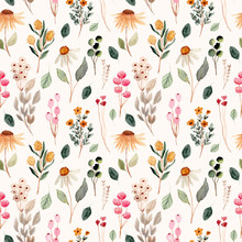 Beautiful Flower Meadow Watercolor Seamless Pattern