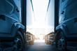 canvas print picture - trucks on parking in warehouse, road freight industry delivery cargo logistics and transport