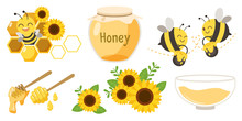 The Collection Of Cute Character Of Cute Bee With Beehive And Honey Jar And Honey Spoon And Sunflower In Flat Vector Style.Graphic Resource About Bee For Graphic,content , Banner, Sticker Label.