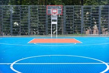 Outdoor Urban Basketball Court Blue, Nobody, Copy Space, Background