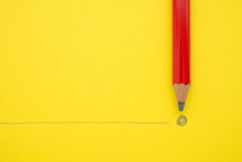 Black Pencil Write The End Point On Yellow Paper Background With Copy Space. Concept Of Conclusion, Completion And Successful In Business Target.