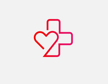 Creative Red Linear Logo Cross And Heart Icon For Pharmacy Or Medical Clinic.