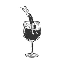 Man Dives Into A Glass Of Wine Sketch Engraving Vector Illustration. T-shirt Apparel Print Design. Scratch Board Imitation. Black And White Hand Drawn Image.