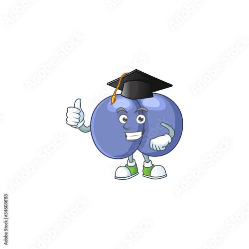 Mascot design concept of streptococcus pneumoniae proudly wearing a black Gradua Canvas Print