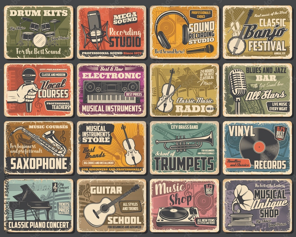 Fototapeta Music instruments shop, live concert and recording studio, vector retro posters. Classic music radio, guitar store, jazz fest saxophone and piano school, singer vocals courses and blues bar