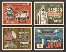 Japanese Culture And Traditions, Japan Travel Landmarks, Vector Vintage Posters. Samurai Armor And Museum, Japanese Music Instruments Exhibitions Museum, Buddhism Monuments And Pagodas