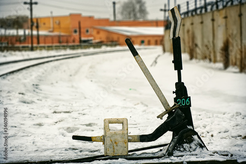 Fotografia Arrow for switching the railway