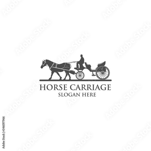 Carta da parati horse carriage silhouette logo