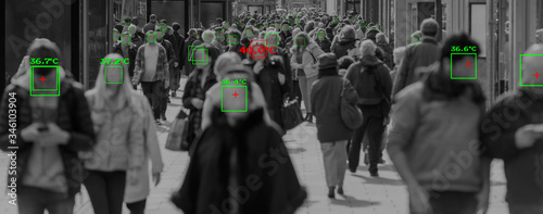 thermal cameras tracking crowd of people to protect their health Canvas