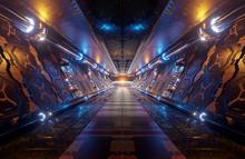 Orange And Blue Futuristic Spa...