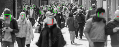 thermal cameras tracking crowd of people to protect their health Fototapeta