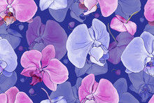 Floral Seamless Pattern With Pink And  Purple Flowers Orchid On Dark Blue Background. Hand Drawn. Tropical Plants For Design, Textile, Print, Wallpapers, Wrapping Paper. Vector Stock Illustration.