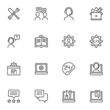 Technical Support Line Icons Set, Outline Vector Symbol Collection, Linear Style Pictogram Pack. Signs, Logo Illustration. Set Includes Icons As Repair Tool, Customer Service, Help Desk Phone Call