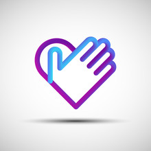 Hand Over Heart Blended Line Icon