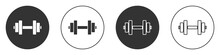 Black Dumbbell Icon Isolated O...