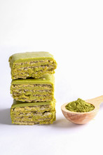 Pieces Of Green Waffles With M...