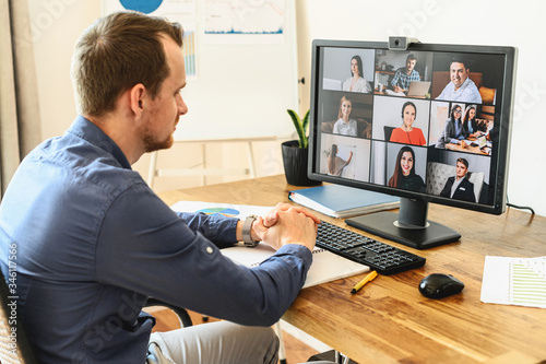 Tela Virtual conference with employees