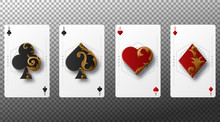 Set Of Four Aces Playing Cards Suits. Playing Cards Isolated On Transparent Background. Vector Illustration