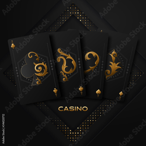 Vector illustration on a casino theme with poker symbols and poker cards on dark background Fototapet