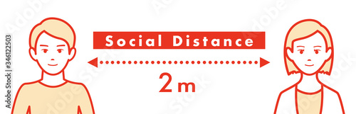 Fényképezés Social distancing set of icons