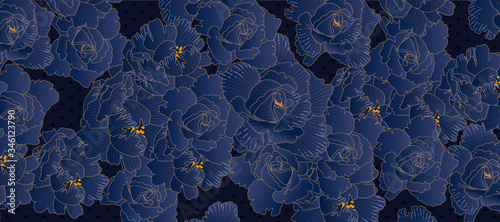 Fotografie, Tablou Rose line arts background vector