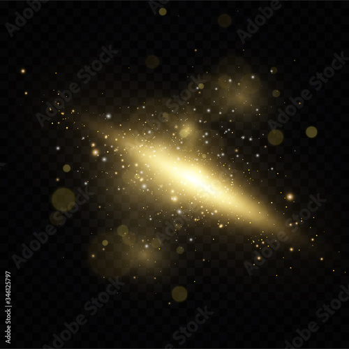 Christmas golden dust, yellow sparks and golden stars shine with a special light. Vector sparkles with sparkling magic dust particles. Wall mural