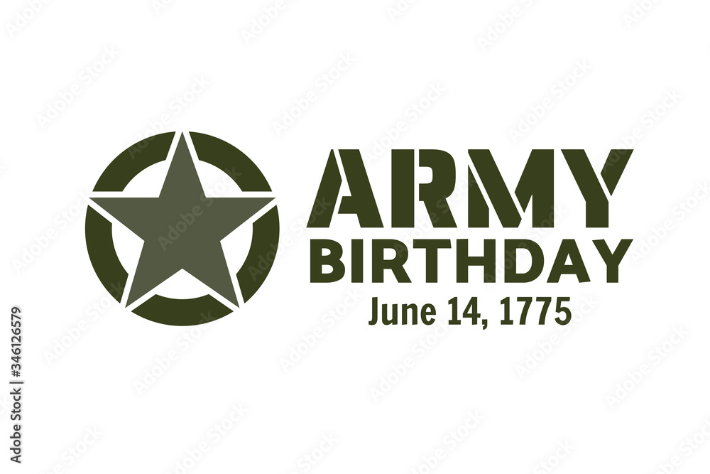 Fototapeta U.S. Army Birthdays. Holiday concept. Template for background, banner, card, poster with text inscription. Vector EPS10 illustration.