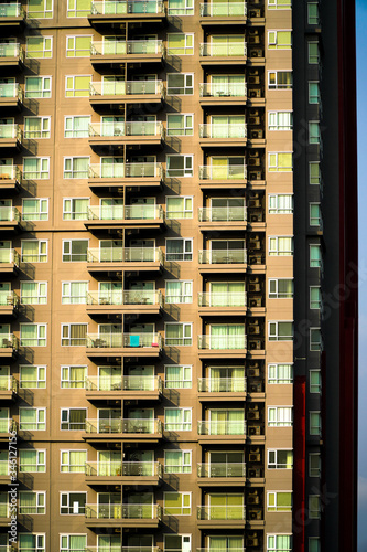 Photo window of a residential condo in Pattaya,Modern luxury highrise real estate and privacy for each unit
