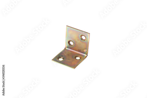 Metal alloy 90 degree angle fixating bracket, isolated on white background Canvas Print