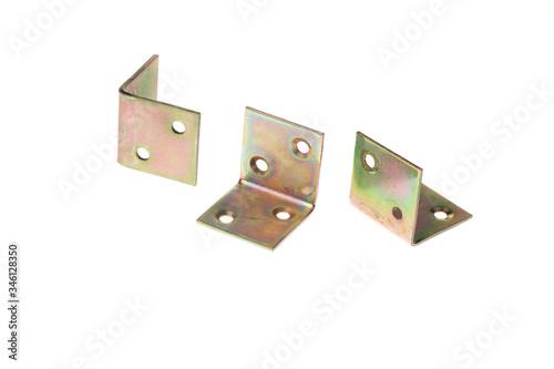 Set of metal alloy 90 degree angle fixating bracket, isolated on white backgroun Canvas Print