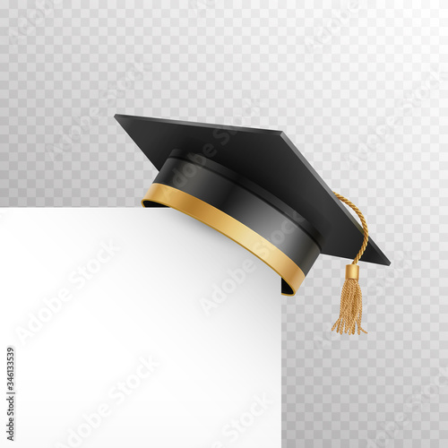 Fototapeta Graduate college, high school or university cap isolated on transparent background