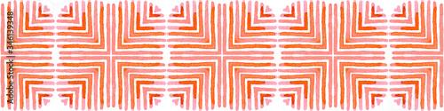 Photo Pink red Seamless Border Scroll. Geometric Waterco