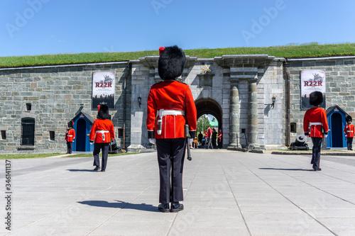 Cuadros en Lienzo Quebec City, Canada, June 19 2019 : Change of guards ceremony at La Citadelle de