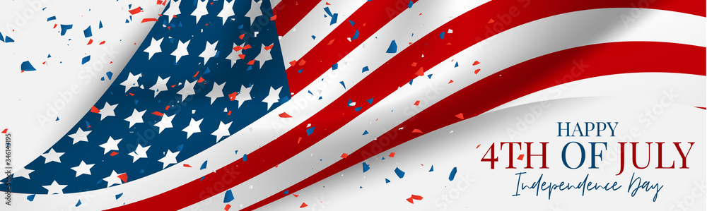 Fototapeta 4th of July Independence Day celebration banner or header. USA national holiday design concept with a waving flag and confetti. Vector illustration.