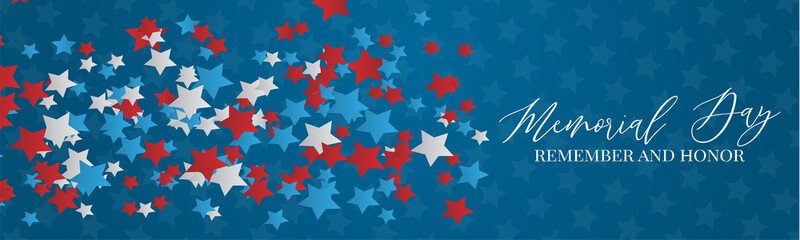 Memorial Day banner or header. Simple design. Blue, red, and white stars. Vector illustration.