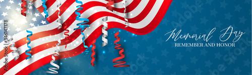 Fototapeta Memorial Day banner. or header Remember and honor. Waving USA flag. National celebration concept. Vector illustration. obraz