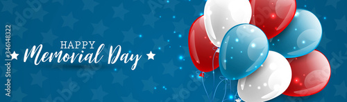 Memorial Day banner or long header. Blue, red, and white usa national colors balloons. Vector illustration.