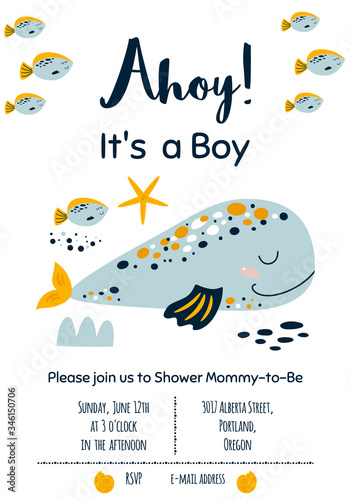 Photo Whale baby shower invitation Ahoy Its a Boy Nautical Baby Shower invite card des