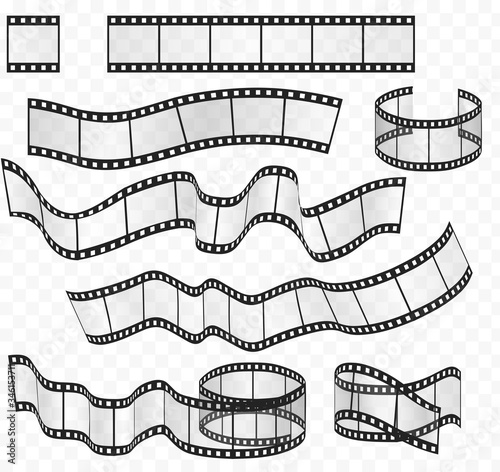 Photo Vector media film strips roll set. Negative and strip film 35mm.