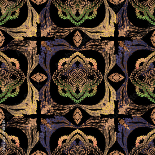 Fototapeta Textured Baroque vector seamless pattern. Colorful floral embroidery background. Tapestry Damask ornament. Violet vintage flowers, leaves, zigzag lines. Grunge old style ornament. Embroidered texture obraz