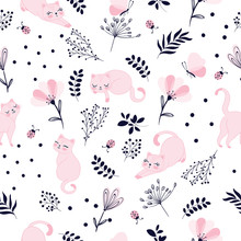 Lovely Cats Pattern Design, Doodle Illustration For Kids.