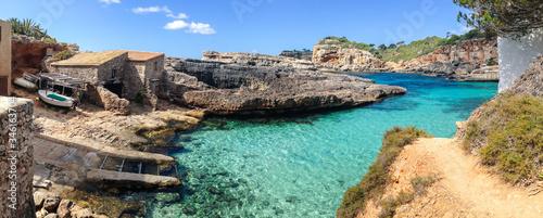 Panoramic view of Cala S'Almunia on the island of Mallorca, Spain, Balearic Islands