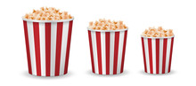 Realistic Popcorn Mockup Isolated. Vector Red Striped Pop Corn Box Side View. Vector Illustration