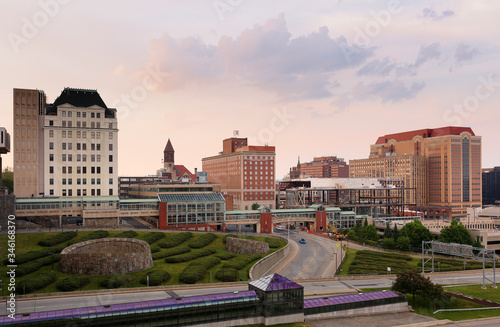 Albany Skyline Showing Downtown at sunset Fototapeta