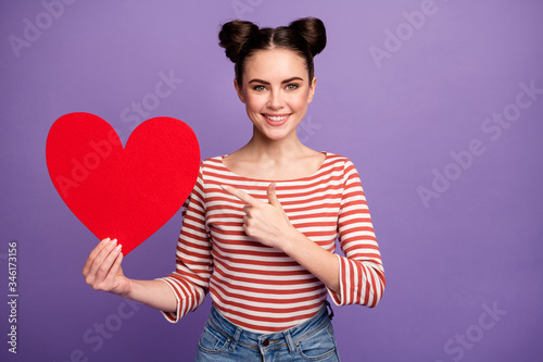 Fényképezés Photo of funny attractive lady hold direct finger big paper heart lovers day pos