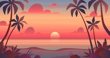 Sea Sunset. Evening Or Morning View Of Sun Above Ocean. Panorama With Clouds, Water Surface And Palm Trees, Exotic Cartoon Vector Landscape