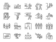 Layoff Line Icon Set. Included Icons As Employee Lay Off, Job Fired, Career Resign, Pay Cuts,economic Crisis And More.