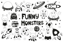 Funny Monsters Space Set. Mono...