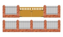 Brick Fence With Wooden Gate V...